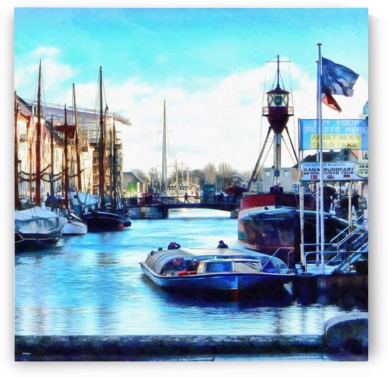 Looking Along Nyhavn Harbour Denmark by Dorothy Berry-Lound