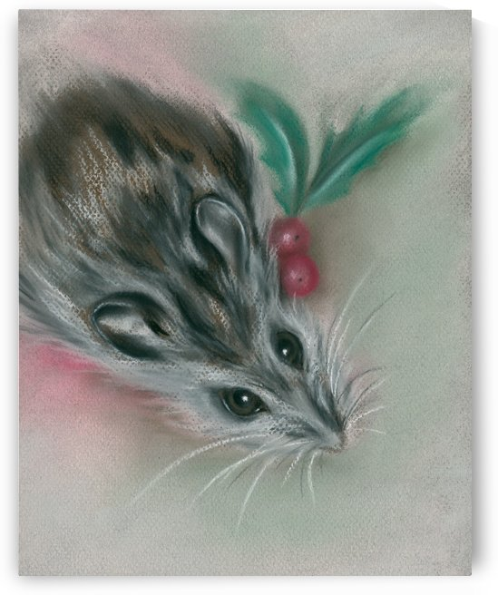 Winter Mouse with Holly by MM Anderson