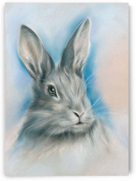 Gray Bunny on Blue by MM Anderson