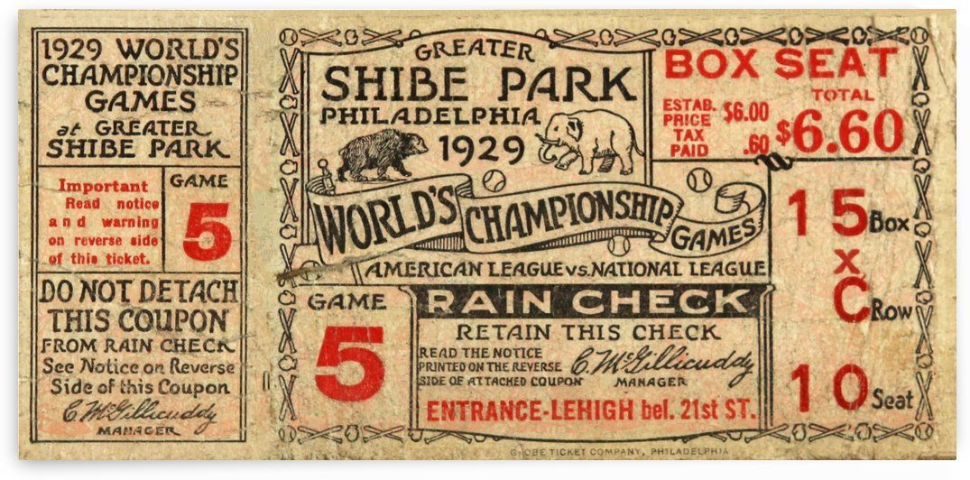 1929 Chicago Cubs World Series Game Ticket by Chad Dollick