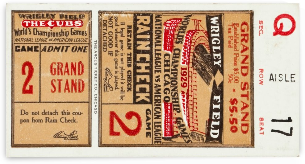 1929 Chicago Cubs World Series Ticket by Chad Dollick