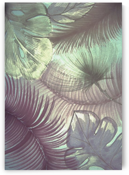 mauve pinkjungle leaves tropical palm tree leaf botanical design by jacqueline mcculloch