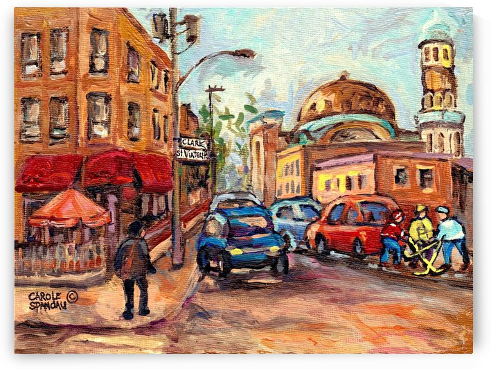 RUE ST VIATEUR NEAR CLARK MONTREAL PAINTING WINTER SCENE WITH HOCKEY by Carole  Spandau