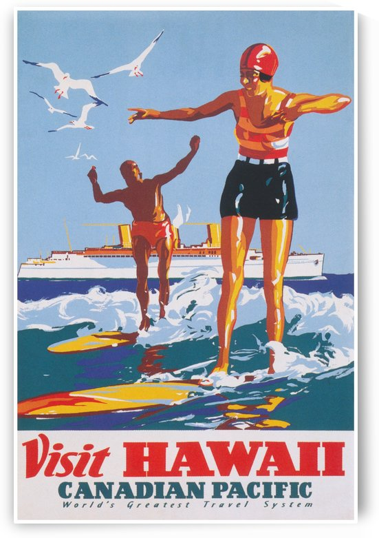 VISIT HAWAII Canadian Pacific - Surfing Travel Poster by Surf Posters