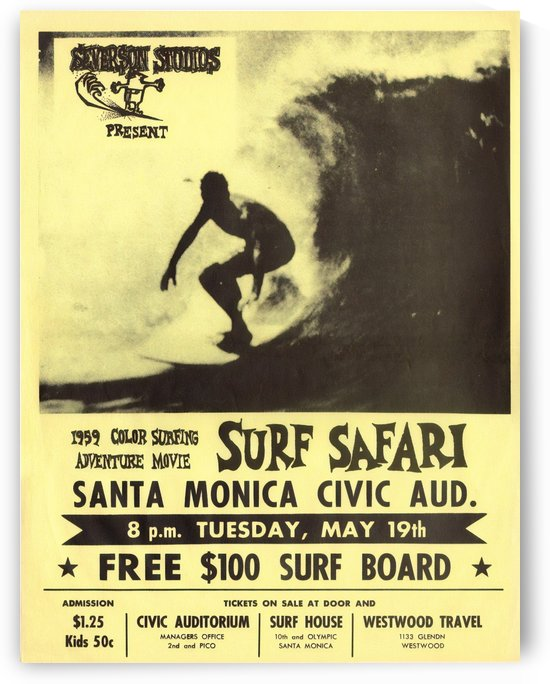 1959 SURF SAFARI - Movie Poster by Surf Posters