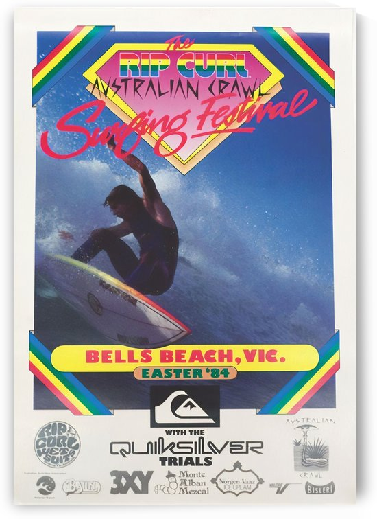 1984 RIP CURL BELLS BEACH EASTER Surfing Championship Competition Print - Surfing Poster by Surf Posters