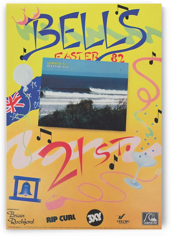 1982 RIP CURL BELLS BEACH EASTER Surfing Championship Competition Print - Surfing Poster by Surf Posters