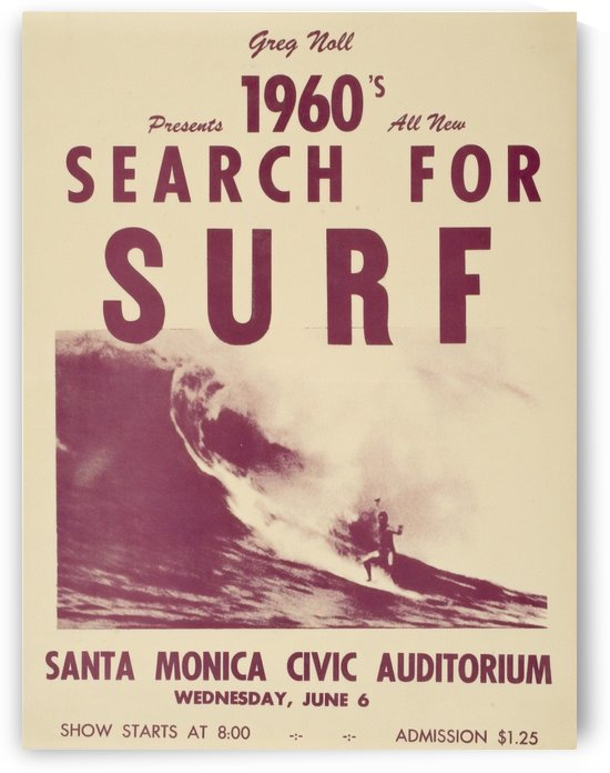 1960s SEARCH FOR SURF - Surfing Poster by Surf Posters