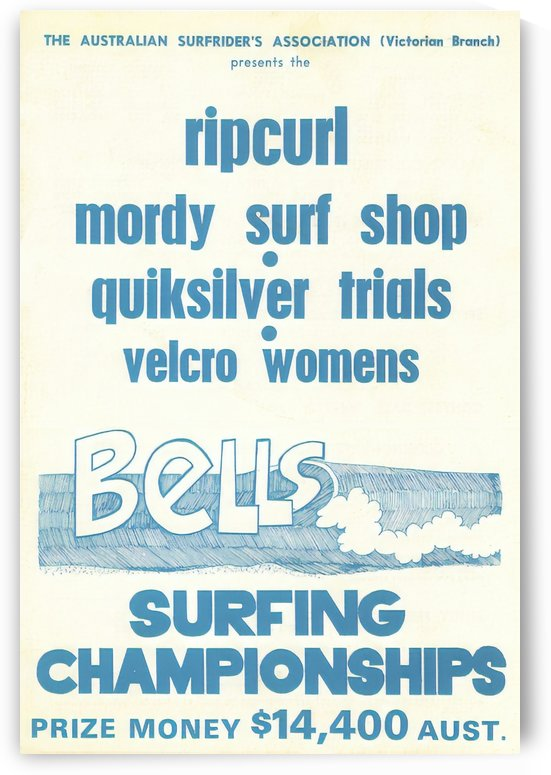 1977 RIP CURL BELLS BEACH EASTER Surfing Championship Competition Print - Surfing Poster by Surf Posters