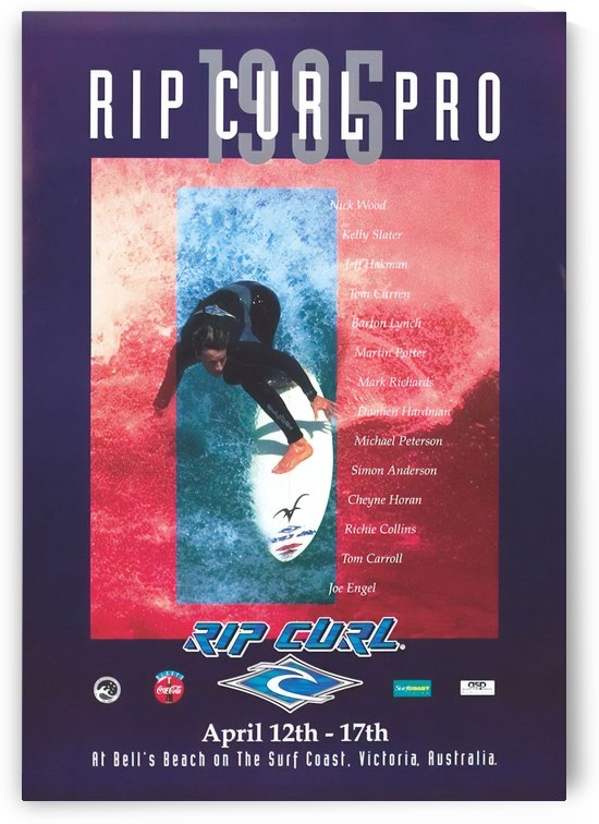1995 RIP CURL PRO BELLS BEACH EASTER Surfing Championship Competition Print - Surfing Poster by Surf Posters