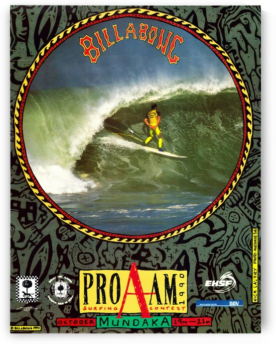 1990 BILLABONG PRO AM Surfing Competition Poster by Surf Posters