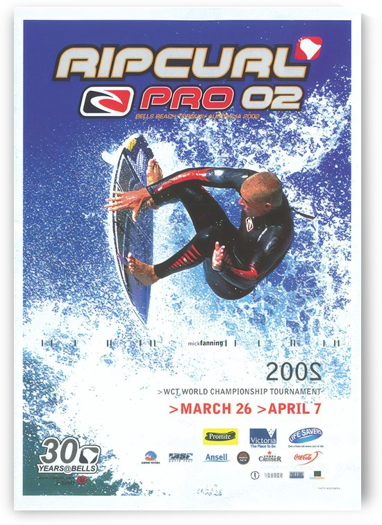 2002 RIP CURL PRO BELLS BEACH EASTER Surfing Championship Competition Print - Surfing Poster by Surf Posters