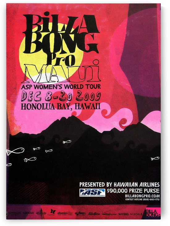 2009 BILLABONG PRO - ASP Womens World Tour Surfing Competition Poster by Surf Posters