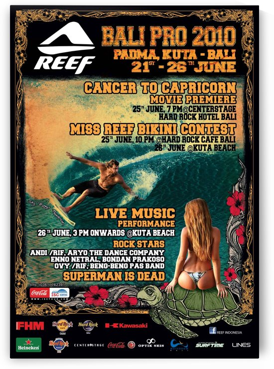2010 REEF BALI PRO Surfing Competition Print by Surf Posters