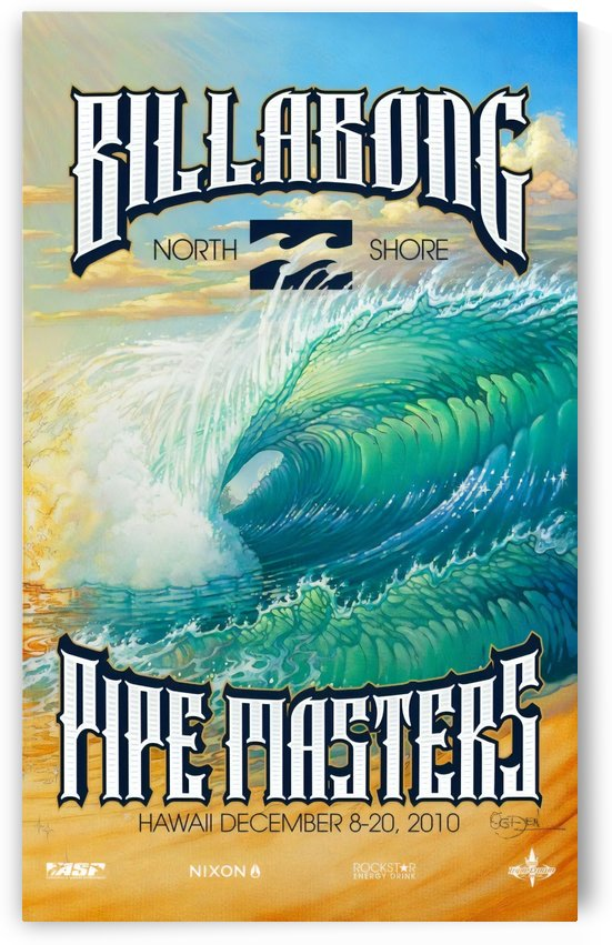 2010 BILLABONG PIPE MASTERS Surfing Competition Print by Surf Posters