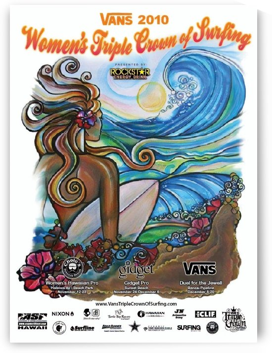 2010 Womens VANS TRIPLE CROWN OF SURFING Competition Poster by Surf Posters