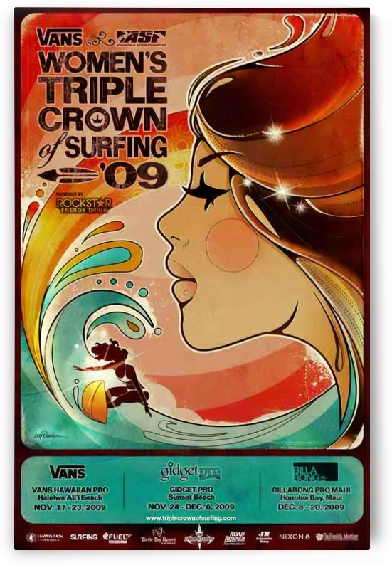 2009 Womens VANS TRIPLE CROWN OF SURFING Competition Poster by Surf Posters