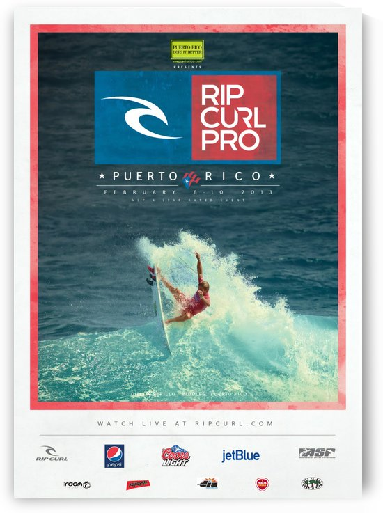 2013 RIP CURL PRO Puerto Rico Surfing Competition Print by Surf Posters