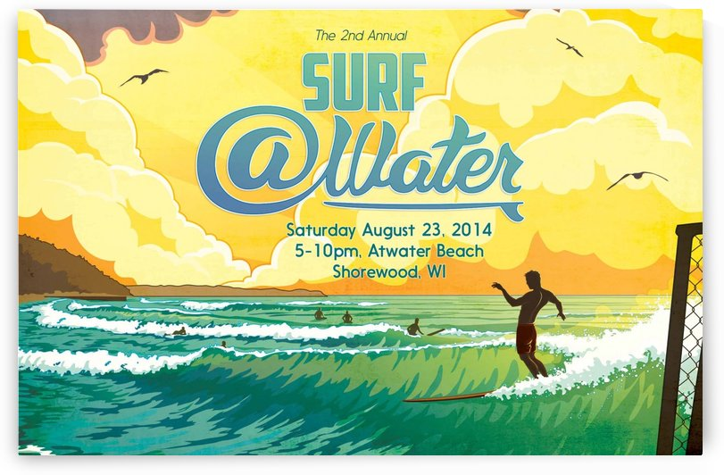 2014 SURF ATWATER - Atwater Beach Shorewood Wisconsin - Surfing Poster by Surf Posters
