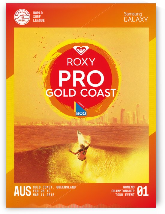 2015 ROXY PRO GOLD COAST Surfing Competition Print by Surf Posters