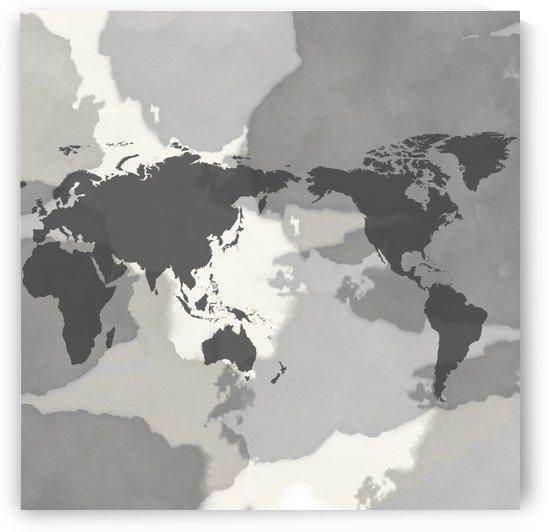 MAP in black and white aquarelle by ANASTASIA SKARLATOUDI
