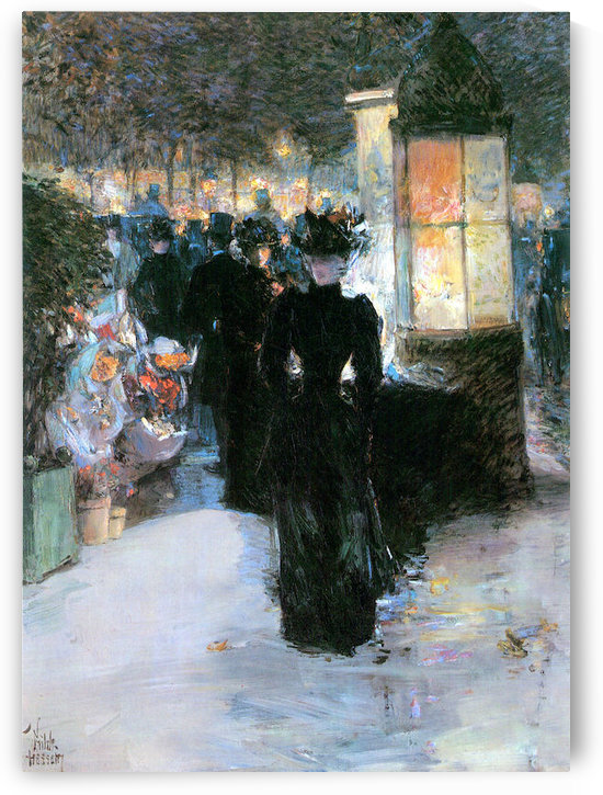 Paris Nocturne by Hassam by Hassam