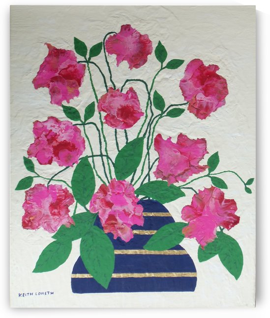 Flowers in navy blue vase  by Keith A Loreth