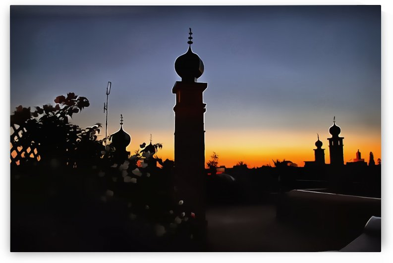 Rooftop At Night Marrakech 3 by Dorothy Berry-Lound