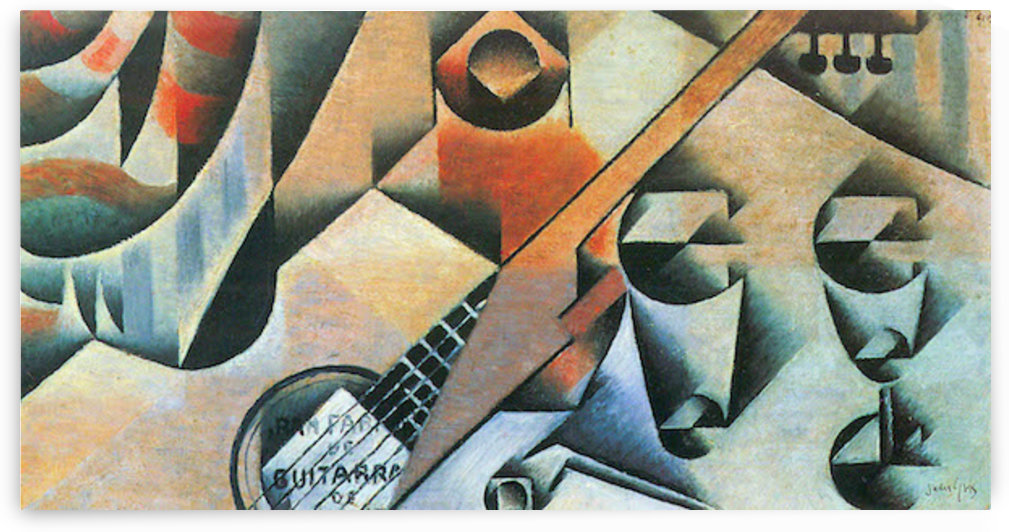Banjo (guitar) and glasses by Juan Gris by Juan Gris