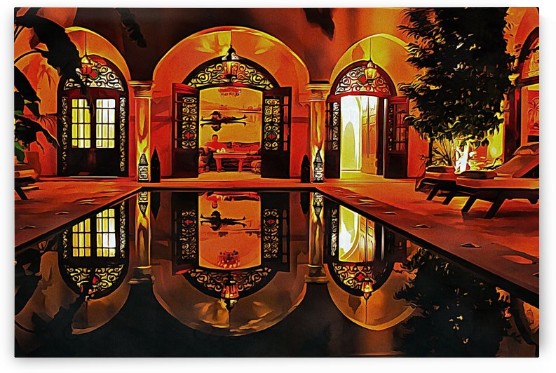 Atmospheric Riad At Night In Marrakesh by Dorothy Berry-Lound