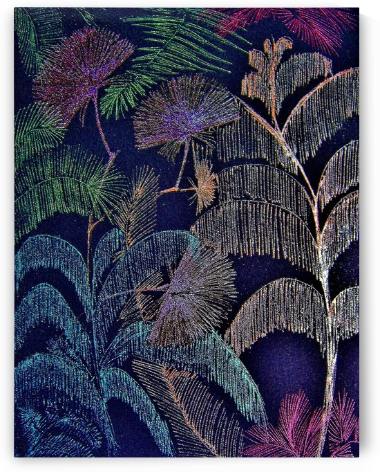 midnight metallic tropical garden by jacqueline mcculloch
