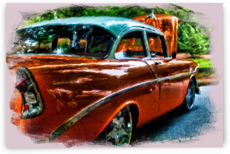 Classic Orange Car in Park Painting by Darryl Brooks