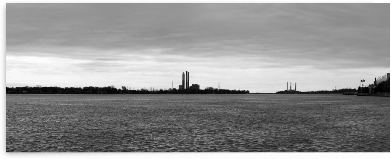 Saint Clair River Gray Day 051219 BW by Mary Bedy