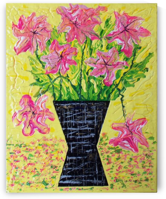 Pink Flowers in vase  by Keith A Loreth