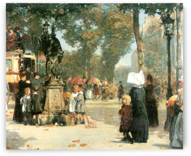 Parisian street scene -1- by Hassam by Hassam
