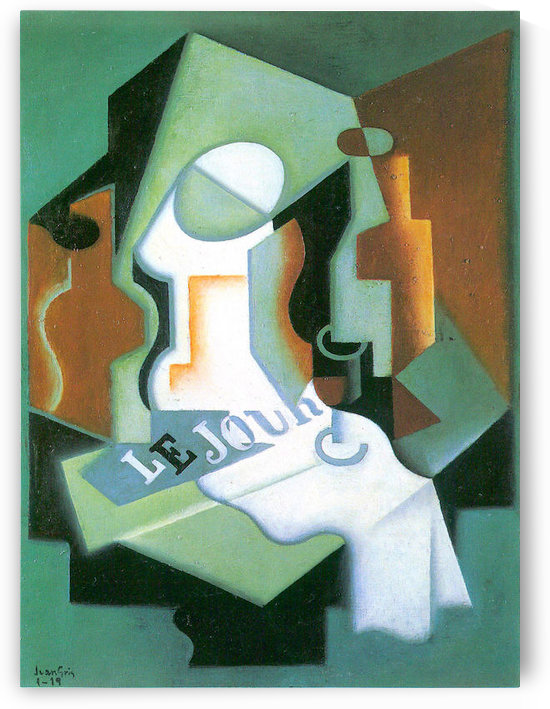 Bottle and fruit bowl -1- by Juan Gris by Juan Gris
