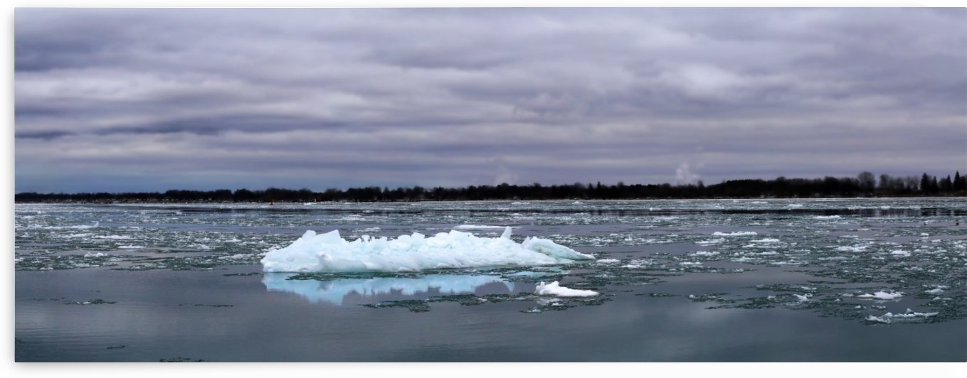 Ice on the River Panorama 021619 by Mary Bedy
