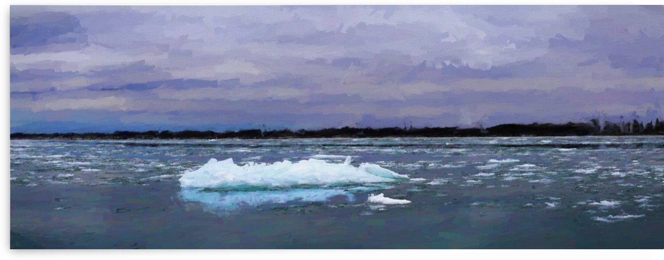 Ice on the River Panorama Painterly 021619 by Mary Bedy