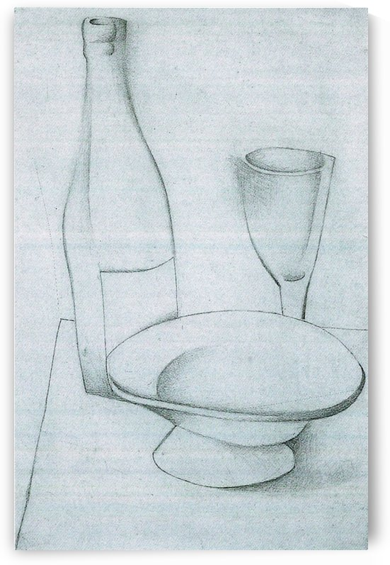 Bottle, glass and fruit peel by Juan Gris by Juan Gris