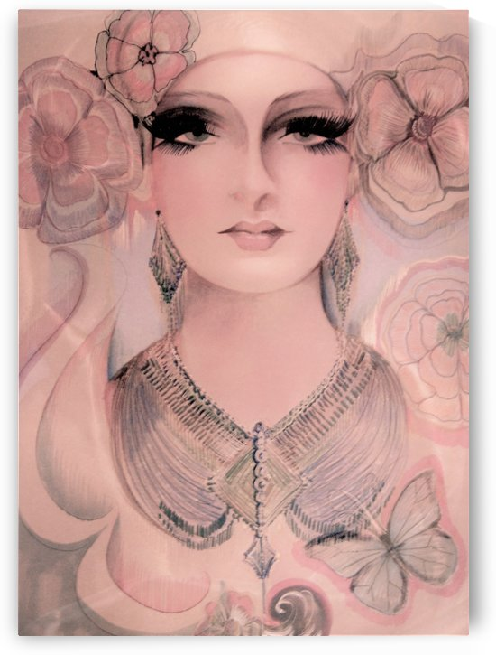 vintage fashion model pastel pink drawing by jacqueline mcculloch