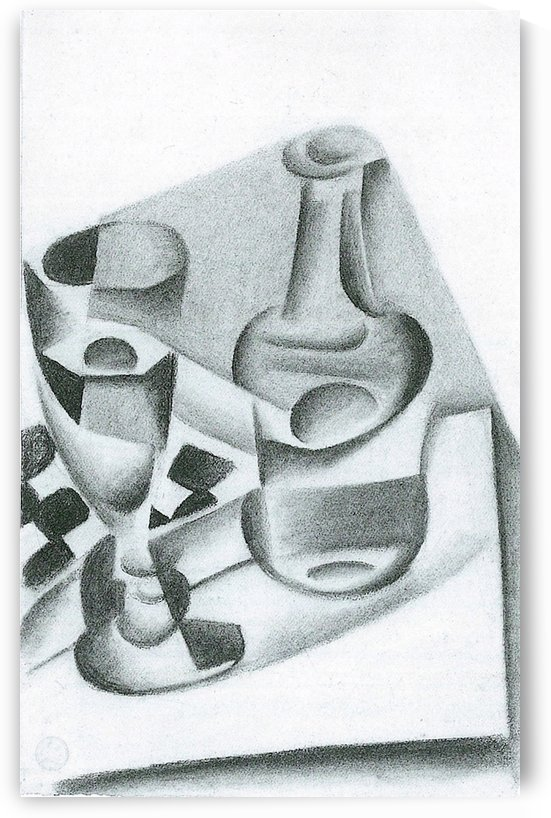 Carafe, glass and chessboard by Juan Gris by Juan Gris