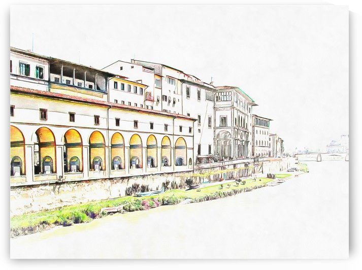 River Arno With View Of Uffizi by Dorothy Berry-Lound