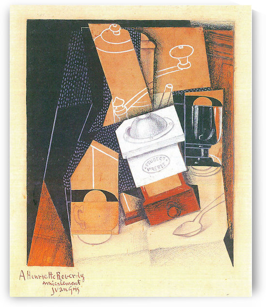 Coffee grinder, cup and glass on a table by Juan Gris by Juan Gris