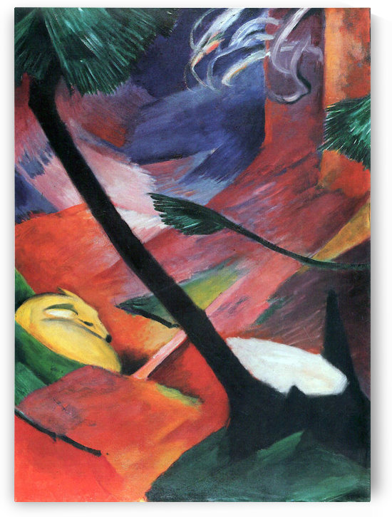 Deer in the forest II by Franz Marc by Franz Marc