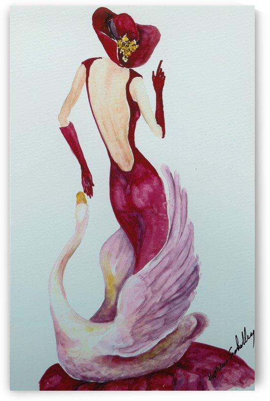 Swan Woman in Red by Robin Hood Treasures
