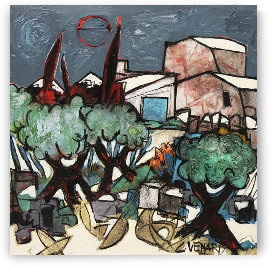 The mazet In The Olive Trees by Vango Art Gallery