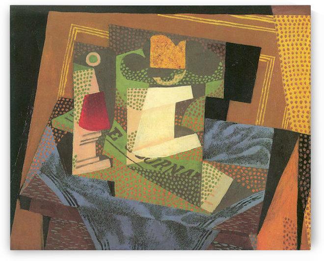 Fruit bowl on a table cloth by Juan Gris by Juan Gris