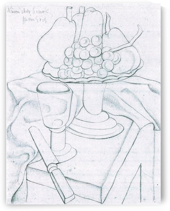 Fruit bowl, glass and knives by Juan Gris by Juan Gris