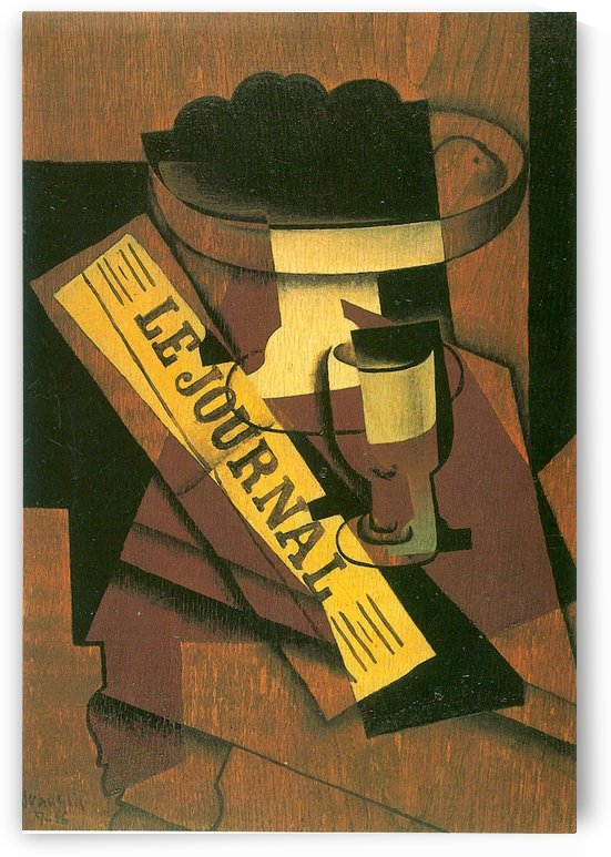 Fruit bowl, glass and newspaper_lg by Juan Gris by Juan Gris