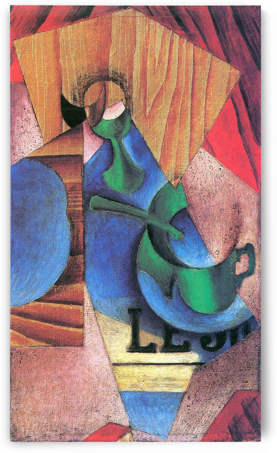 Glass, cup and newspaper by Juan Gris by Juan Gris